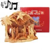 Boxed Musical Olive Wood Nativity from Bethlehem - Silent Night