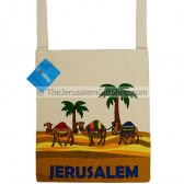 Canvas Shoulder Bag - Jerusalem Camel and Palm Trees