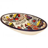 Armenian Ceramic Jerusalem Double 'Snack' Dip Dish - Made in the Holy Land
