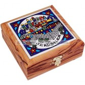 Ceramic Tile Olive Wood Box - Jerusalem