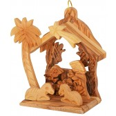 Olive Wood Mini Nativity Stable Scene | Christmas Tree Decoration l 2 Angels