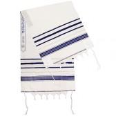 Classic Tallit / Prayer Shawl - Blue and Silver - Acrylic