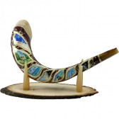 Ram's Decorated Shofar By Artist Sarit Romano - The Six Days of Creation and The Sabbath Rest