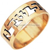 El Shaddai 14 Karat Solid Gold Ring - Hebrew