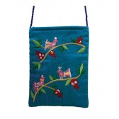 Yair Emanuel Lined Embroidered Bible Bag - Birds - Turquoise