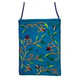 Yair Emanuel Lined Embroidered Bible Bag - Flowers - Turquoise