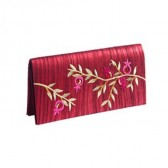 Yair Emanuel Embroidered Evening Clutch Bag - Pomegranates - Maroon