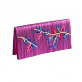 Yair Emanuel Embroidered Evening Clutch Bag - Pomegranates - Pink
