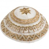 Yair Emanuel | Embroidered Silk Circles Kippah / Yarmulke - Gold