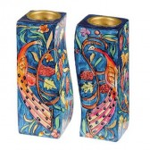 Yair Emanuel - Hand-Painted Pair of Candle Holders - Peacock Design