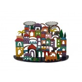Yair Emanuel Laser Cut Hand Painted Shabbat Candle Holder – Jerusalem