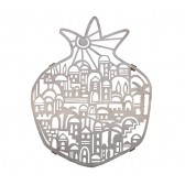 Yair Emanuel Laser-Cut 'Jerusalem' in Pomegranate Shape Stainless Steel Trivet (pot stand)