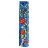 Yair Emanuel | Large Hand-painted Wooden Mezuzah | Pomegranate with Hebrew 'Shin'