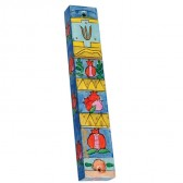 Yair Emanuel | Hand-painted Wooden Mezuzah | Pomegranate Blocks with Hebrew 'Shin'
