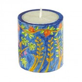 Yair Emanuel 'Seven Species' Hand Painted Memorial (Yahrzeit) Candle Holder