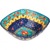 Yair Emanuel Hand-Painted & Lacquered Paper Mache 'Pomegranate' Serving Dish - Blue