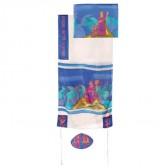 Yair Emanuel 'Miriam and Deborah' Hand-Painted Silk and Cotton Prayer Shawl Tallit Set