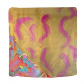 Yair Emanuel Square Silk Hand Painted Scarf - Jerusalem - Orange