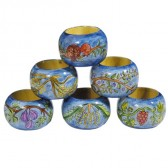 Yair Emanuel Hand-Painted Six Set Wooden Napkin Holder Rings - 7 Species