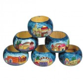 Yair Emanuel Hand-Painted Six Set Wooden Napkin Holder Rings - Jerusalem