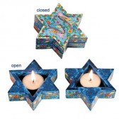 Yair Emanuel Hand Painted Star of David Candlesticks - Oriental