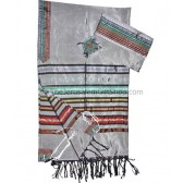 Gabrieli Silk Tallit set - Colorful stripes on Grey