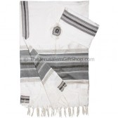 Gabrieli Silk Tallit set - White with Grey stripes Gold thread