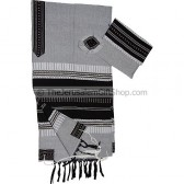 Gabrieli Cotton Tallit - Grey and Black