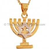 Goldfill Two Tone Menorah with Star of David Pendant by 'Marina'