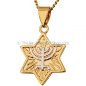 Goldfill Two Tone Star of David Menorah Pendant by 'Marina'