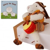 Biblical Dress 'Glory to God' Drummer Sheep Stuffed Fun Toy