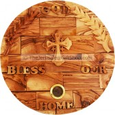 God Bless Our Home - Olive Wood with Cross and Holy Land Soil
