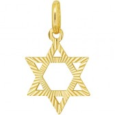 14 Carat Engraved Gold Star of David Pendant