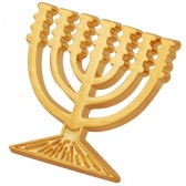 Gold Menorah Lapel Pin Badge