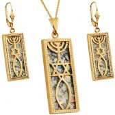 Roman Glass 14k Gold 'Grafted In' Messianic Pendant & Earrings