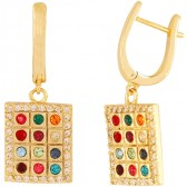 Hoshen Earrings with CZ stones - Goldfill