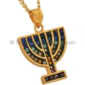 Goldfill Menorah Pendant with mixed Zircon by 'Marina'