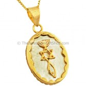 Goldfill 'Grafted In' mounted on Mother of Pearl Pendant by 'Marina'