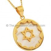 Goldfill Star of David mounted on Mother of Pearl Pendant by 'Marina'