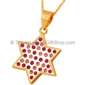 Goldfill 'Shades of Pink' Star of David Pendant by 'Marina'