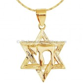 Goldfill Star of David with Chai Pendant