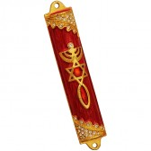 'Grafted In' Messianic Mezuzah - Painted Enamel with CZ Crystals - Gold and Red