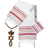 'Grafted In' Messianic Prayer Shawl Scripture Talit with Olive Wood Messianic Necklace - Pink