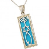 'Grafted In' 925 Sterling Silver Messianic Symbol mounted on Turquoise Pendant