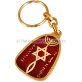 Keychain 'Grafted In' Jerusalem - Red Enamel