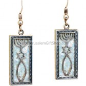 Grafted in Roman Glass Earrings - rectangle