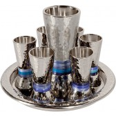 Holy Land Harvesters - Lord's Supper Cup with Tray - 8 Piece Set - Hammered Nickel (Choice of Colors)