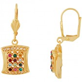 Hoshen Priestly Breastplate Earrings with CZ stones - Goldfill