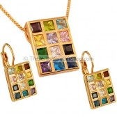 Hoshen Pendant and Earring Set - Goldfill