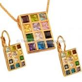 Hoshen Pendant and Earring Set - Goldfill